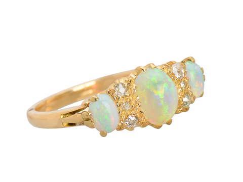 Antique Three Opal Diamond Ring in 18k
