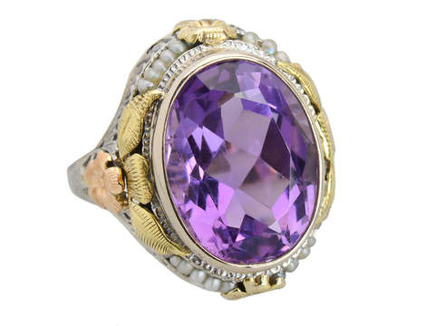 Grand Amethyst & Three Color Gold Filigree Ring