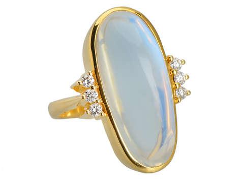 Charisma - Huge Blue Moonstone Diamond Ring