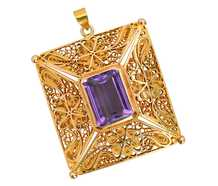 Antique 18k Filigree Amethyst Pendant