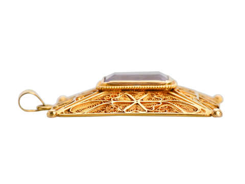 Antique 18k Filigree Amethyst Pendant