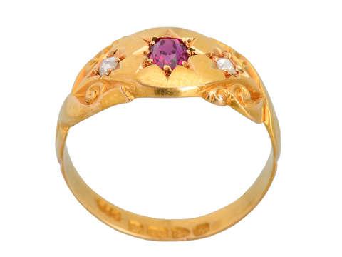 English Ruby Diamond Gypsy Set Ring of 1907
