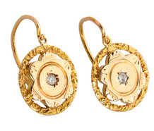 Vintage Rose Cut Diamond Dormeuse Earrings