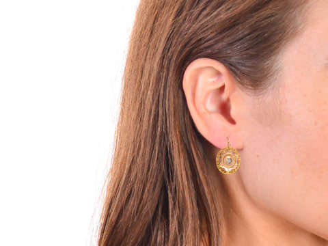 Vintage Rose Cut Diamond Dormeuse Earrings