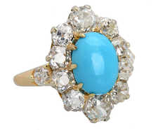 Victorian Splash - Turquoise Diamond Ring