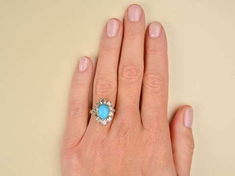 Victorian Splash - Turquoise Diamond Ring