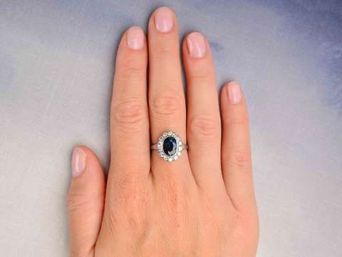 Ocean Starlight - Vintage Sapphire Diamond Halo Ring