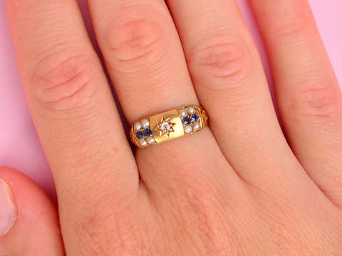Edwardian Antique Pearl Sapphire Ring of 1904