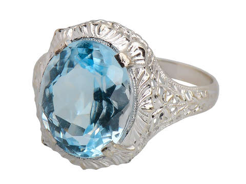 December Birthstone - Blue Topaz Vintage Ring