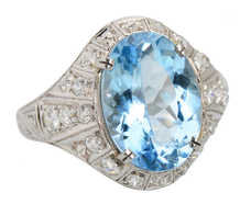 Aquamarine Platinum Diamond Ring of 1923