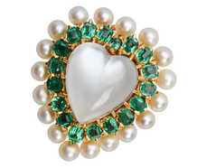 Moonstone Emerald Pearl Heart Pendant Brooch