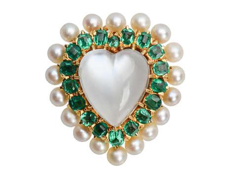 Moonstone Emerald Pearl Heart Pendant Brooch