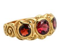 Powerful Antique Three Garnet Ring