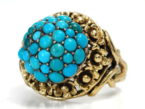 Vintage Turquoise Dome Gold Ring