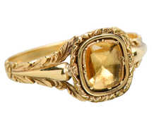Georgian Foiled Citrine Ring of Gold