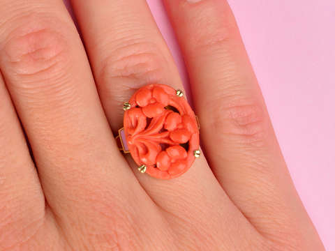 Allsopp Bros. Art Deco Carved Coral Ring