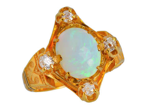 Victorian Antique Opal Four Diamond Ring