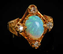 Victorian Antique Opal Four Diamond Ring