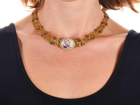 17th Century Enamel & Gold Necklace