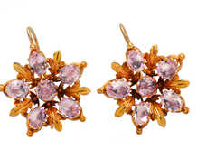 Pink Topaz Cluster Georgian Earrings