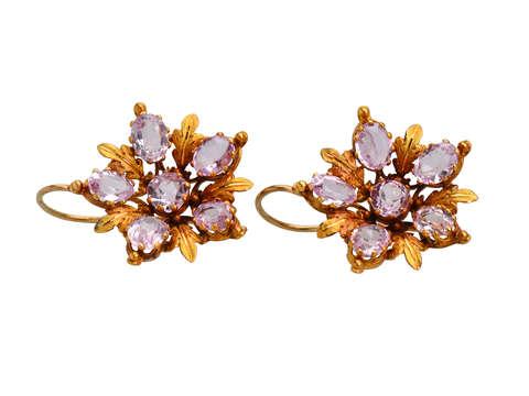 Pink Topaz Cluster Georgian Earrings