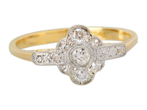 Two Color Diamond Engagement Antique Ring