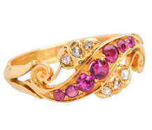 Antique Ruby Diamond Ring Swirl of 1898