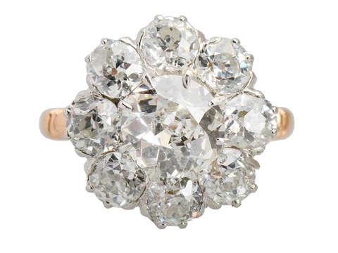 Old European Cut Diamond Cluster Ring 5.58 Carats!
