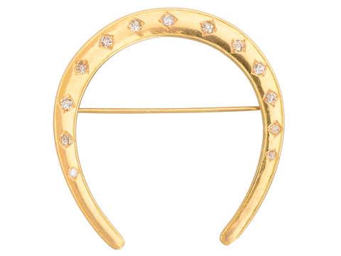 A.J. Hedges Diamond Horseshoe Brooch