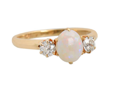 Vintage Opal Two Diamond Ring Dated 1950