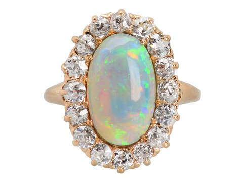 Extravaganza - Antique Australian Opal Diamond Ring