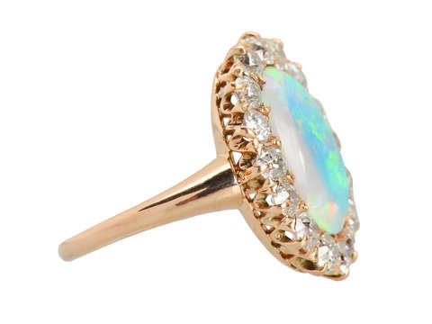 Extravaganza - Antique Australian Opal Diamond Ring