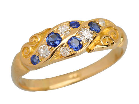Victorian Natural Sapphire Diamond 18k Gold Ring