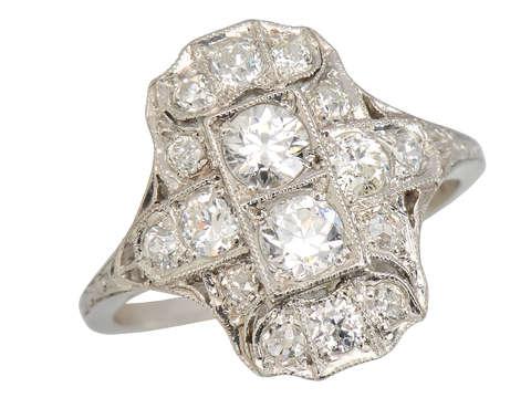 Downton Elegance - Edwardian Diamond Platinum Ring