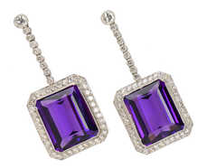 Decadent Amethyst Diamond Drop Earrings
