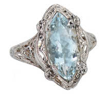 Marquise Aquamarine Art Deco Filigree Ring