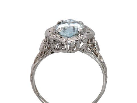 Marquise Aquamarine Art Deco Filigree Ring