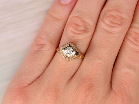 Two Color Vintage Diamond Engagement Ring