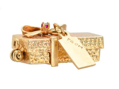 Surprise Gift Box - Golden Rose Pendant Charm