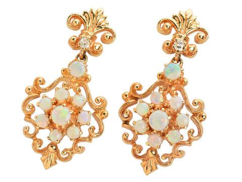 Estate Australian Opal Dangle Earrings