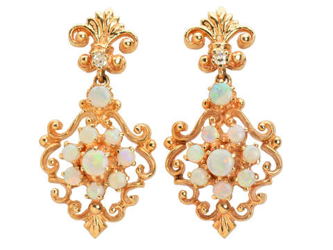 Estate Australian Opal Dangle Earrings