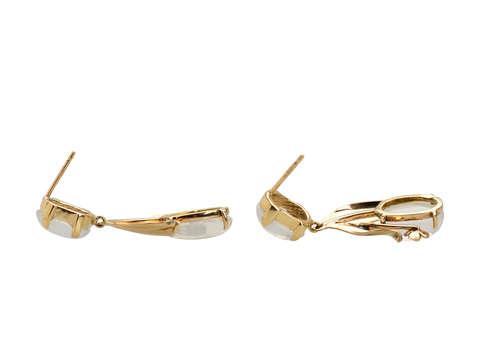 Blue Moonstone Dangle Earrings in Gold