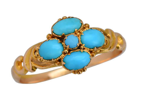 Victorian Persian Turquoise 15k Gold Ring