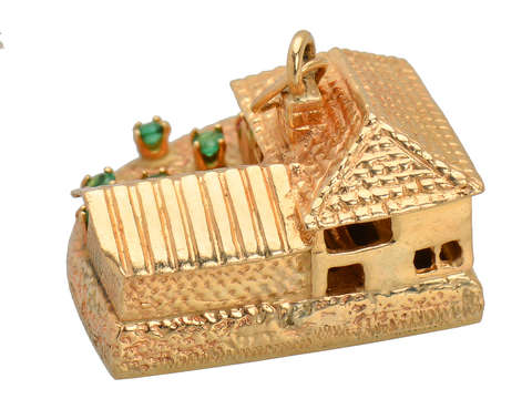 Home Sweet Home - Large House & Car Gold Charm