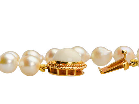 Akoya Cultured Pearl Necklace - White Coral Clasp
