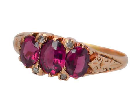 Antique Rhodolite Garnet Diamond Ring