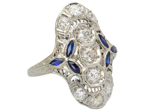 Noteworthy Art Deco Diamond Sapphire Ring
