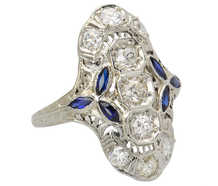 Noteworthy Art Deco Diamond Sapphire Ring