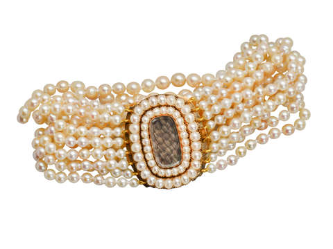 Sentimental Pearl Bracelet with Georgian Hair Clasp