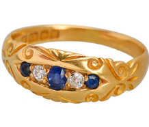 Antique 18k Diamond Sapphire Ring of 1900
